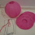Ilmoitus: 4 kpl paperilyhty -koristeita, väri: fuksia