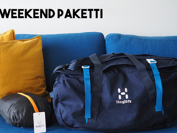 Renting out (by week): Haglöfs Cargo 90 l & Halti Smart travel matkamakuupussi
