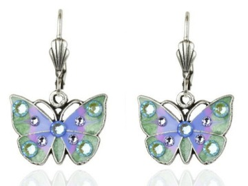 Selling with online payment: Lilac/Sage Enameled butterfly Earrings