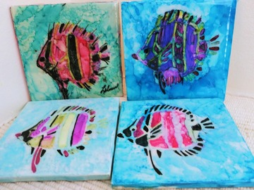 Selling with online payment: Coasters Set of 4 Hand Painted