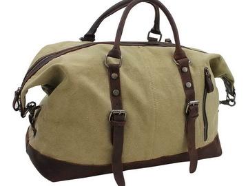 Buy Now: Classic Antique Style Cotton Canvas Medium Duffle Bags - Khaki