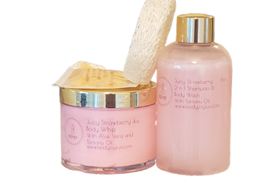 Selling with online payment: Handmade Juicy Strawberry Shower Gel & Body Whip Set