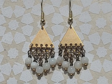 Selling with online payment: Raw brass with white bead earrings