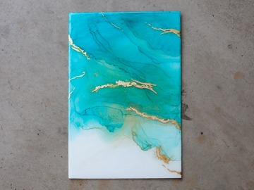 Selling: Serenity - Fine Art - Aqua & Gold