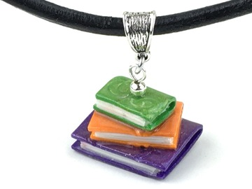 Selling with online payment: Book Stack Clay Pendant Necklace
