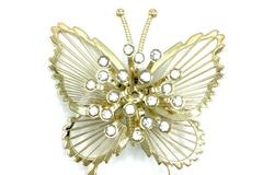 Liquidation/Wholesale Lot: 12 PIECES Vintage Signed MONET CRYSTAL PIN BUTTERFLY GOLD-TONE