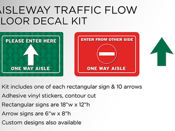 Sell your product: Social Distancing Aisle Traffic Flow Floor Decal Kit