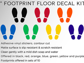 "Sell your product: Social Distancing Footprint Floor Decal Kit - 8"" Wide x 8"" High"