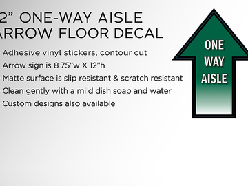 "Sell your product: Social Distancing Directional Arrow Floor Decal - 8.75"" W x 12"" H"
