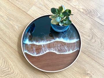 : Wood Serving Tray - Night Ocean (2)