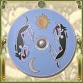Verkaufen mit Widerrufsrecht (Gewerblicher Anbieter): Viking Round Shield, painted with Mánagarm and Sköll