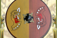 Verkaufen mit Widerrufsrecht (Gewerblicher Anbieter): Viking Wooden Round Shield with Norse horse motif