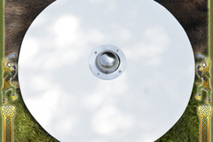 Selling with right to rescission (Commercial provider): Blank unpainted Viking Round Shield made of wood, w/ steel boss
