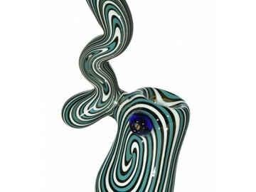 "Post Products: SMOKING SUESS BUBBLER - 6"" WIG WAG GREEN AND WHITE SHERLOCK BUBBL"