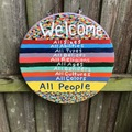 "Selling with online payment: 21"" Round Wood Welcome Sign"