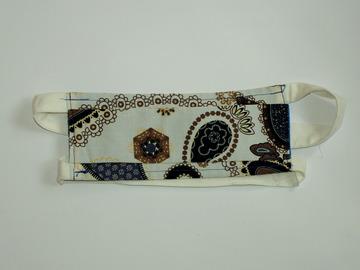 Vente au détail: Masque barrière blanc motif bleu et marron T:H/F/Ado