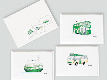 : Public transport Hong Kong style note card gift set