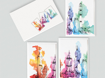 : Hong Kong skyline note card gift set
