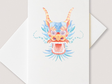 : Chinese blue dragon greetings cards (pack of 6 cards)