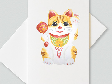 : Lucky cat greetings cards (pack of 6 cards)