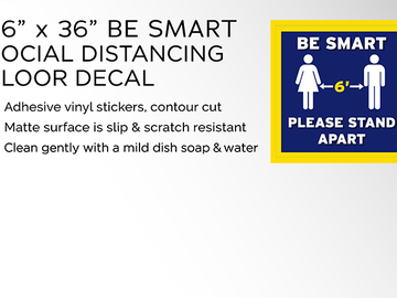 """Sell your product: 36"""" x 36"""" Be Smart Social Distancing Floor Decal"""