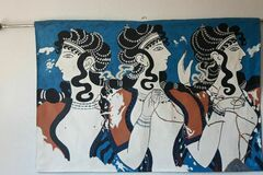 Vendre: la fresque : dames en bleu palais de Cnossos entièrement doublé