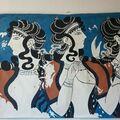 Sell: la fresque : dames en bleu palais de Cnossos entièrement doublé