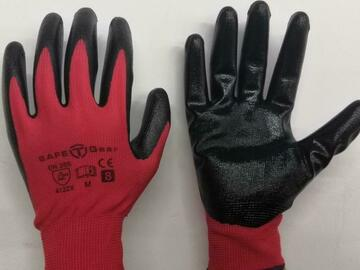 Selling with online payment: Red Polyester w/ Black Nitrile Dipped Work Gloves (12 pairs)