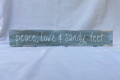 Selling with online payment: Peace, Love & Sandy Feet Sign