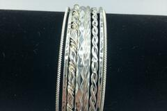 Buy Now: 25 Sets of 8 Stacked Diamond cut Bangle Bracelets 200 pcs Total