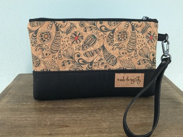 Selling with online payment: Whimsical Paisley Cork Wristlet