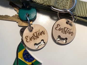Selling with online payment: Personalized Silent Wooden Pet ID and Keychain