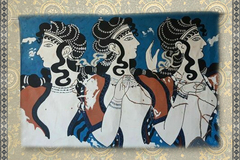 Verkaufen: Banner fresco: ladies in blue palace of Knossos fully lined
