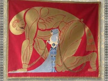 Verkaufen: Fully lined 'Samson and Delilah' banner