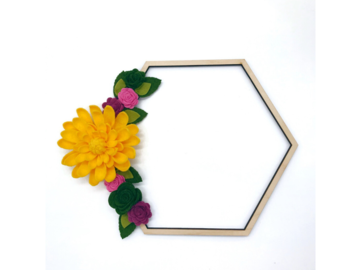 Selling: Felt Floral Geometric Wood Wreath