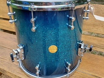 SOLD!: SOLD! Gretsch New Classic 14x14 fl tom Ocean Blue Sparkle Burst