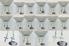 Buy Now: 50  Swarovski Crystal Cross Earrings in White Leather Gift Box