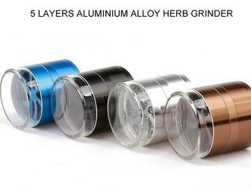 Post Products: 5 Piece Herb Grinders 63mm Aluminium Alloy Metal Grinder Clear To