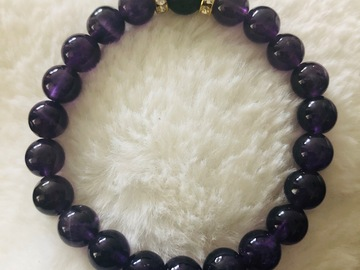 For Sale: Children's Amethyst and Lava Crystal Healing Bracelet