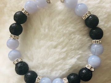 For Sale: Children's Blue Lace Agate, Lava and Quartz Crystal Bracelet