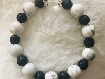 For Sale: Children's White Howlite, Lava & Quartz Crystal Healing Bracelet