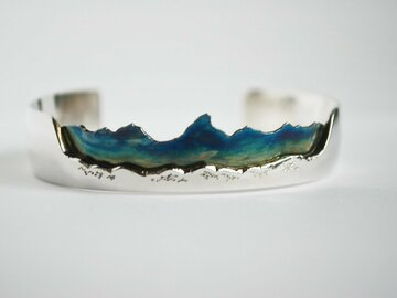 Selling: Custom Patinated Mountain Bracelet