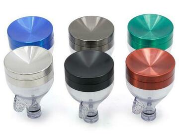 "Post Products: Zinc Metal Funnel Grinder 3.5"" High 3 Parts Tobacco Herb Grinders"