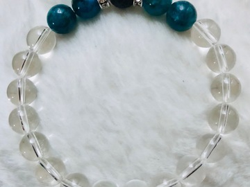 For Sale: Children's Apatite, Clear Quartz & Lava Crystal Healing Bracelet