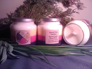 Selling: Ojibwe Sacred Herb Wood Wick Candle