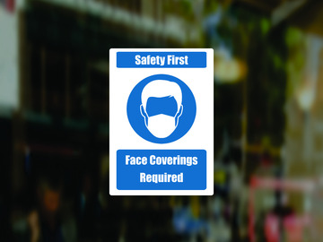 Selling with online payment: 5 Pack - Safety First - Face Coverings Required Decal Window