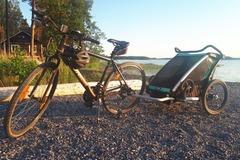 Vuokrataan (päivä): Pyöräkärry thule ja pyörä
