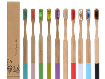 For Sale: Adult Bamboo Cylinder Handle Toothbrush Oral Care Soft Bristle