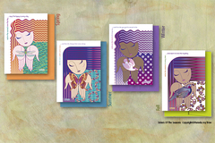 Selling with online payment: Set of 4 Diversity Sisters Of The Seasons Cards