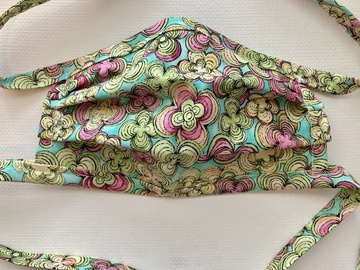 Selling with online payment: Floral Fabric Face Mask with Fabric Ties